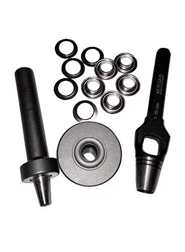 Locheisen-Set Ø 12mm zum Einschlagen von Rundösen | Henkel-Locheisen | Einschlagstempel | 50 Stück Ösen | Qualitätswerkzeuge Made in Germany