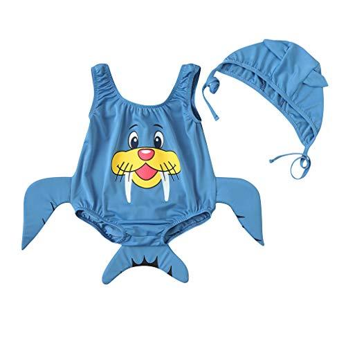 KaloryWee Baby Mädchen Jungen 3D Cartoon Infant Swimwear Badeanzug Bikini Swimming Badebekleidung für Kinder Cap Outfits (100(18-24 Monate), Blau)
