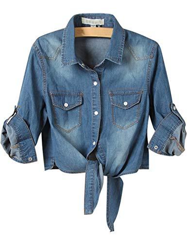 Omoone Women's 3/4 Sleeve Denim Crop Top Tie Knot Shirt Cardigan (0774-Dark Blue-L)