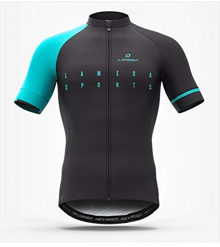 AZUOYI Cycling Jerseys Men's Short Sleeve Bike Shirts Full Zip Bicycle Jacket with Pockets,D,XXL