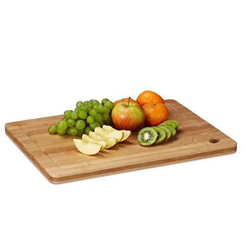 Relaxdays Tabla de Cortar Cocina, Bandeja para Picar, Plato, Orificio, Relieve Interior, Bambú, 2 x 40 x 30 cm, Marrón