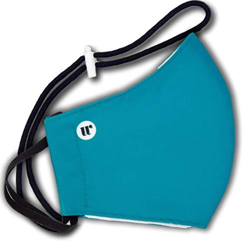WEARK Mascarilla higienica reutilizable de microfibra fabricada en España con funda interior para filtro e innovador sistema de cierre (Adulto) Azul Océano