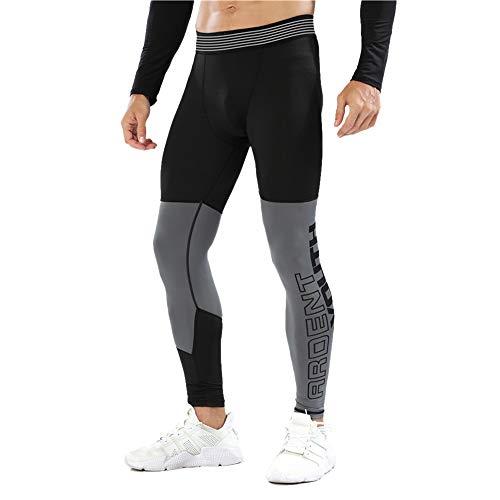 palglg Hombres Aptitud Polainas Fitness Leggings Deportes Compresión Trotar Capa Base Formación Pantalones Negro Gris S