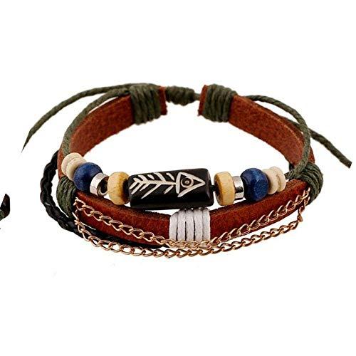 Armband,Armband Charms Männer Frauen Paar Armband Leder Fisch-Knochen-Muster Perlen Armband Lederarmband 2 Stück,Das Armband der Liebe