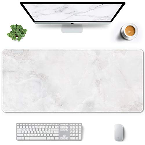 Auhoahsil Large Mouse Pad, Full Desk XXL Extended Gaming Mouse Pad 35' X 15', Waterproof Desk Mat w/ Stitched Edges, Non-Slip Laptop Computer Keyboard Mousepad for Office and Home, White Marble Design