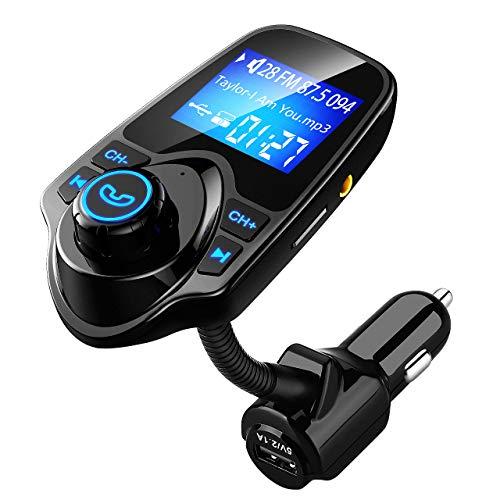 VICTSING Transmetteur FM Bluetooth Kit de Voiture Mains Libres Sans Fil Chargeur USB de Voiture avec 3.5mm Port Audio, Fente pour carte TF, cran de 1.44 Pouces