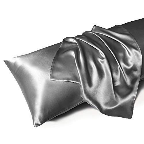 MR&HM Satin Body Pillow Pillowcase, 20x54 inches Body Pillow Cover with Envelope Closure, Silky Slip Cooling Pillow Cases for Hair and Skin (20x54, Dark Grey)
