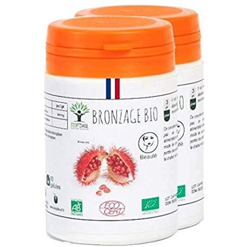 Autobronzant - Bioptimal - Urucum - Complément alimentaire - Autobronzant Bio - Bioptimal - Made in France - Certifié par Ecocert - (2x60 gélules)