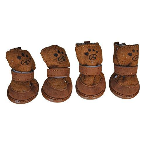 SODIAL(R) Braun Haken Schlaufe Verschluss Babyschuh Haustier Hund Chihuahua Schuhe Stiefel 2 Paar S