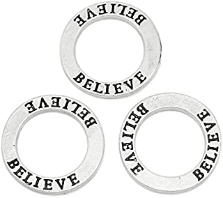 30 Count Antique Silver Believe Affirmation Ring Washer 22mm Diameter