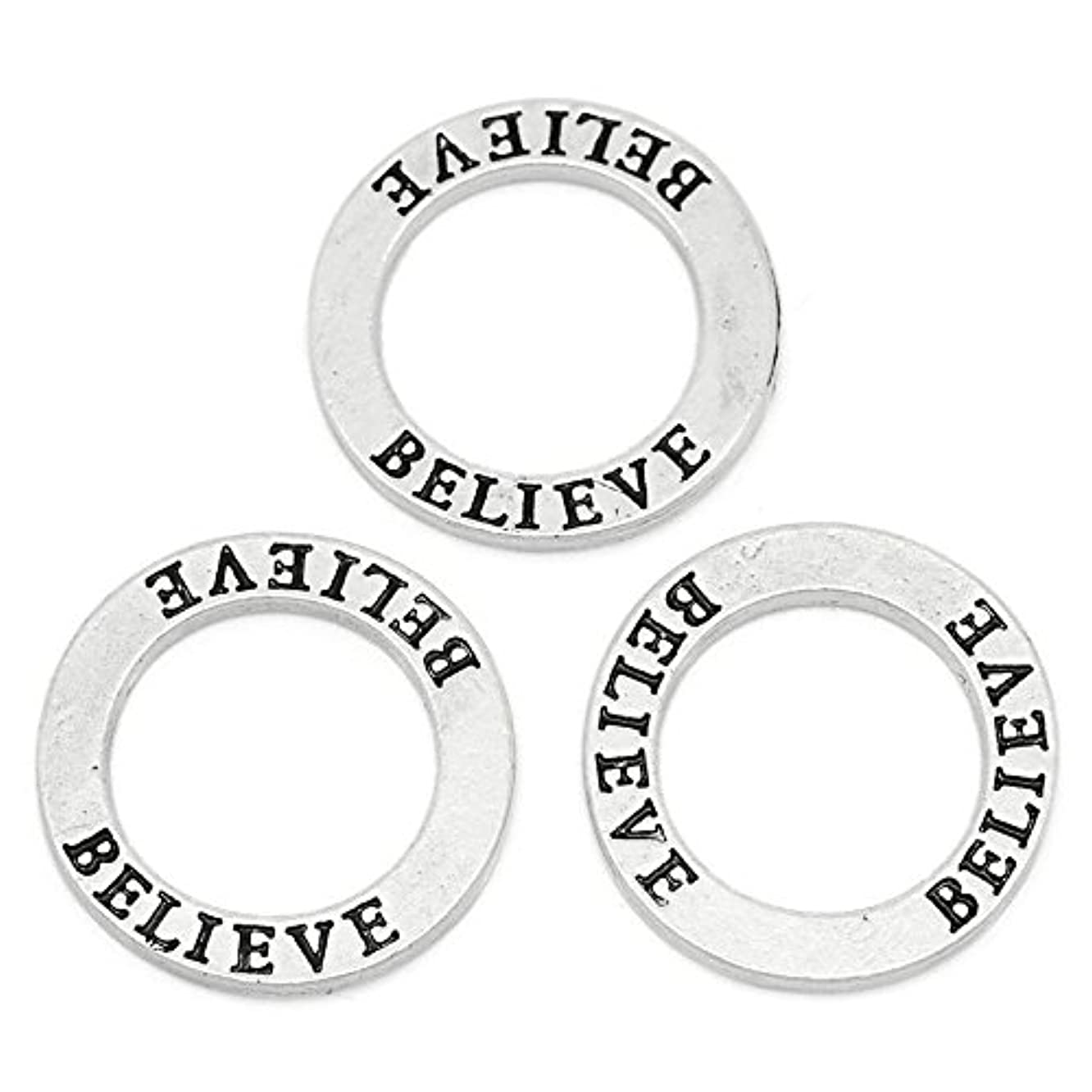 Craft Making Shop 30 Count Antique Silver Believe Affirmation Ring Washer 22mm Diameter
