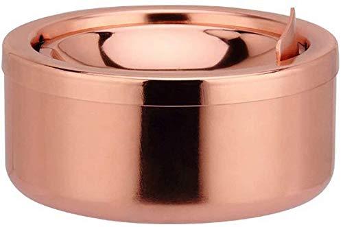 ZWR Cenicero portátil de Acero Inoxidable a Prueba de Viento con Tapa, cenicero de Cigarrillos de Mesa de 12 cm para Uso en Interiores o Exteriores (Color : Rose Gold)