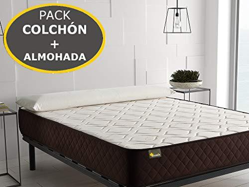 Pack Colchón de Alta firmeza para la Espalda + Almohada Viscoelástica Aloe Vera – 30 Noches de Prueba (200x200 (2 Almohadas de 105cm))