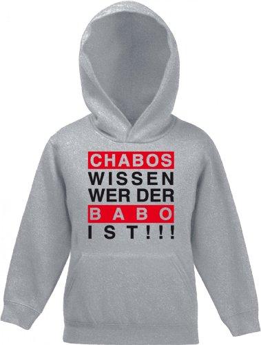 Shirtstreet, Chabos wissen wer der Babo ist!!!Boss Kinder Kids Kapuzen Sweatshirt Hoodie - Pullover, Größe: 152,Graumeliert