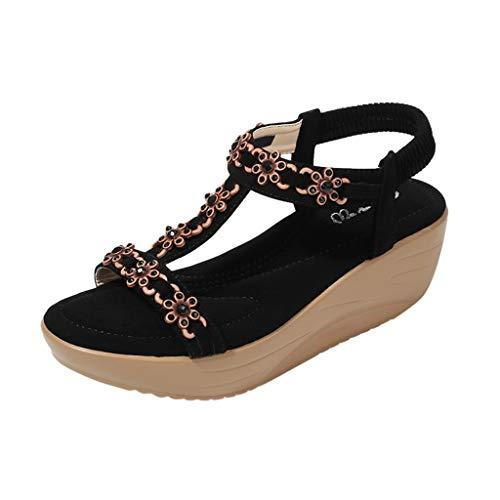 Damen Sandalen T-Riemen Riemchensandale Plateauschuhe Platform Slingback Peep Toe Beach Strandsandale Sommer Outdoor Sandals(1-Schwarz/Black,38)