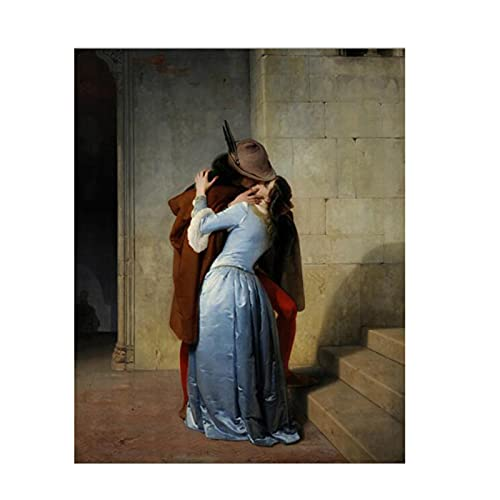 Pintor italiano Francesco Hayez Kiss-Il Bacio Posters e impresiones Arte de la pared Pintura de la lona Imagen del amante para la decoración de la sala de estar Regalo -50x70cmx1pcs -Sin marco