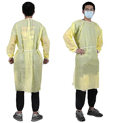 YIBER Disposable Lab Coat Isolation Gown, PP+PE Material 40g, Protective Coverall Hazmat Suit, Fluid Resistant, Dental, Medical, Hospital, Industries ONE SIZE FITS ALL - 1 pcs/Pack Yellow