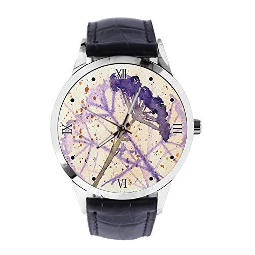 Armbanduhr mit Blumensamen, analog, Quarzuhr mit Lederarmband, für Mädchen und Jungen