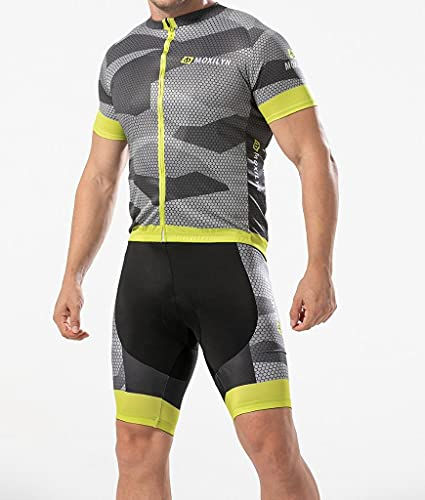 Snabbtorkande cykeltröja för män uppsättning landsvägscykel cykelskjorta + haklapp shorts med 9D gel vadderad MTB ridkläder kit