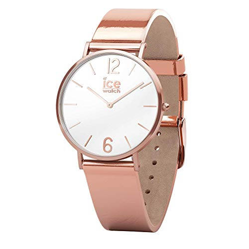 Ice-Watch - CITY sparkling - Metal Rose-Gold Black - Women's wristwatch with leather strap - 015091 (Small)