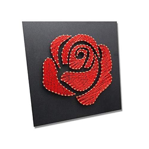 Rose garen schilderij nagel kronkelende decoratieve schilderij DIY handgemaakte materiaal pakket string zijde schilderij 30 * 30cm