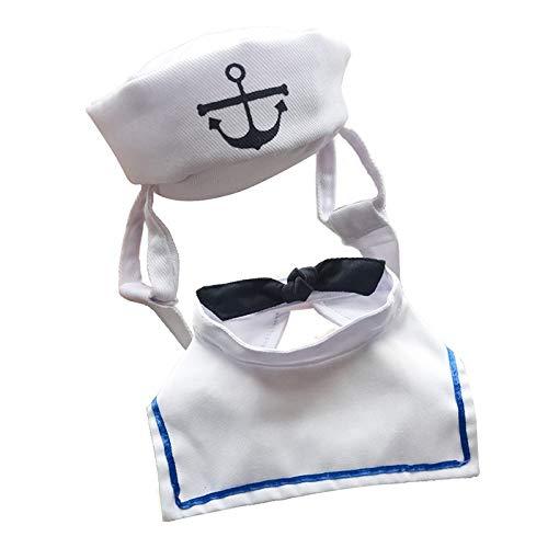 HVTKL Nieuwe huisdier kleding kleding hond kat hoed matroos pak marine pak zeilpak mantel, Uniform size adjustable, Kleur: wit