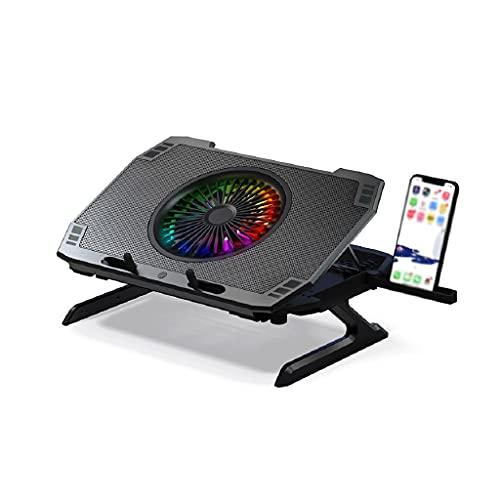 WPBOY Soporte de almohadilla de refrigeración para portátil ajustable Radiador portátil Mute Notebook Base de refrigeración Riser Creative 5 ventiladores (negro)