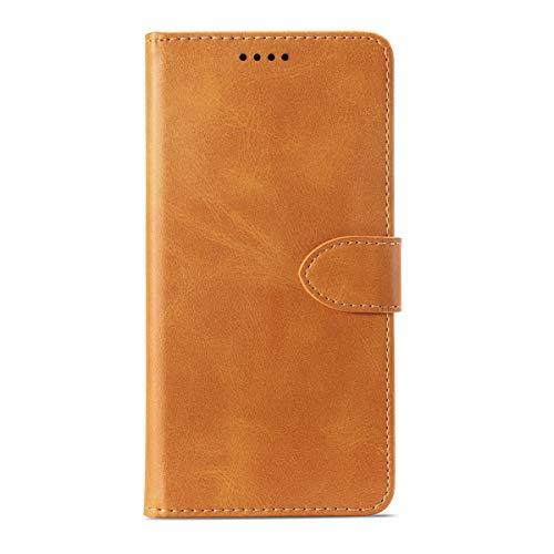 Capa carteira para Umidigi A5 Pro, YZKJ Flip PU elegante capa de couro retrô com fecho magnético compartimentos para cartão de crédito e suporte capa protetora para Umidigi A5 Pro (16 cm) - Amarelo