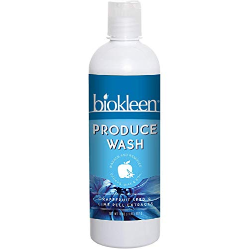 Biokleen Produce Wash, Removes Sprays, Waxes & Oils, Eco-Friendly, Non-Toxic, Plant-Based, No Artificial Fragrance Colors or Preservatives, Grapefruit Seed & Lime Peel Extracts, 16 Ounces (Pack of 12)