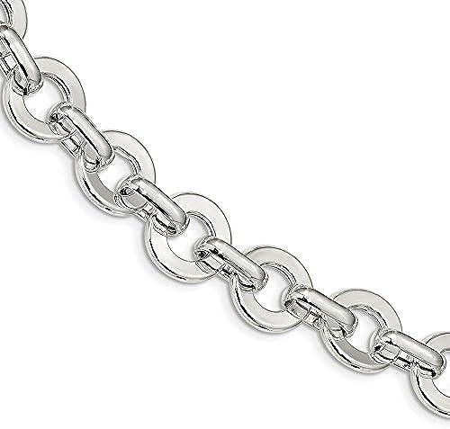 15,25  Sterling Silber poliert Kreis Fancy Link Armband 20cm