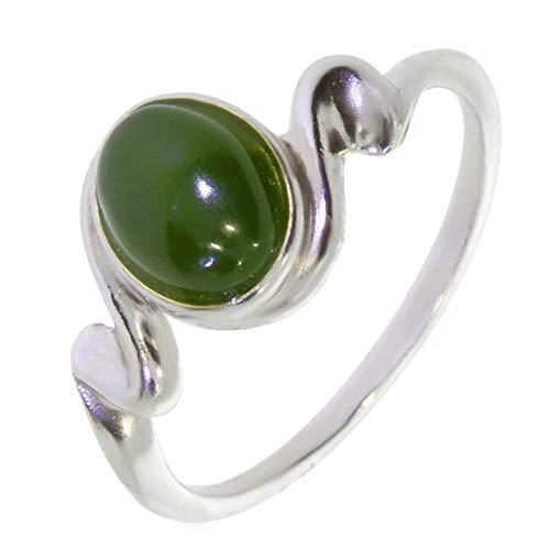 ARTIPOL Ring mit echter Jade europeische Produktion franz.Stil - Schmuck silbern-rhodiniert - Ref 26-16 - größe 59 (18.8)