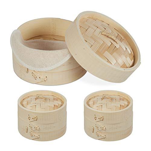 Relaxdays Bambus Dampfgarer Set, 3 asiatische Dämpfkörbe, 1-3 Etagen, Dim Sum, Reis, Dampfgarer Einsatz Ø 13,5 cm, natur