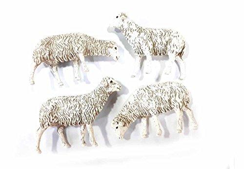 Generico Ricevi 12 Pecore Lunghe 7 CM In PLASTICA Landi Per PASTORI 12 Cm PRESEPE S. Gregorio ARMENO Ricevi Un Portachiavi Omaggio Sheperds Crib
