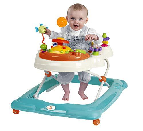 Babylo Paseador giratorio con actividades y juegos electrónicos, altura ajustable y asiento giratorio acolchado de 120 grados.