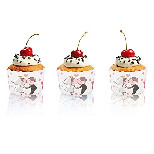 Changor Taza de Papel de la Torta, 7 cm Tazas para Hornear Muffin 7x6x5.5cm con cartón Blanco 220 ℃ para la Cocina DIY Party Pastel Decoración para Hornear