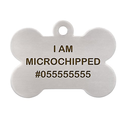 dogIDs I am Microchipped Dog ID Tag - Bone Shaped - Laser Engraved on Stainless Steel