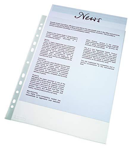 Esselte Standard Prospekthüllen-Set, 100 Stück, A4 Format, Farblos mit matter Oberfläche, Obere Öffnung, 0,043 mm PP-Folie, 56171