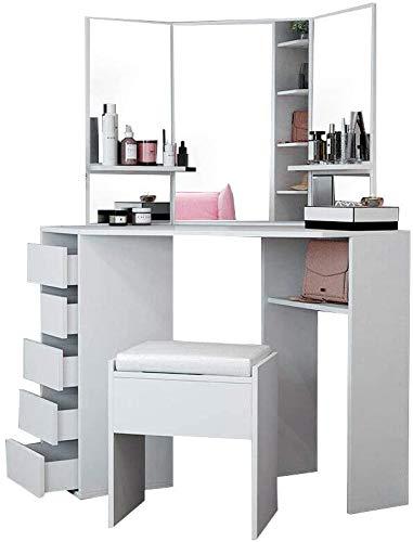 Die Ecke Spiegel und ein Schreibtisch mit Schubladen 5 Hockern Kommode gesetzt Tischecke Schlafzimmer Wohnzimmer zum Abrichten,White