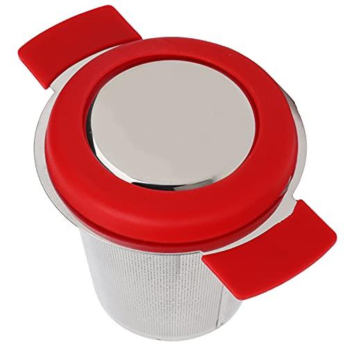 Filtro de té, infusor de té de manos protectoras anti-quemaduras reutilizable con tapa para teteras para té de hojas(Red Silicone Stainless Steel Tea Drain)