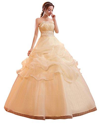 ShiFan Eleganti Abito da Sposa Senza Spalline del Pavimento-Lunghezza delle Donne Champagne XL