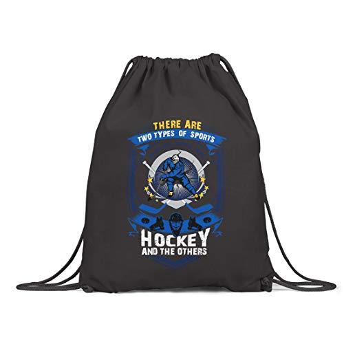 BLAK TEE Two Types of Sports Ice Hockey and Others Slogan Organic Cotton Drawstring Gym Bag Black