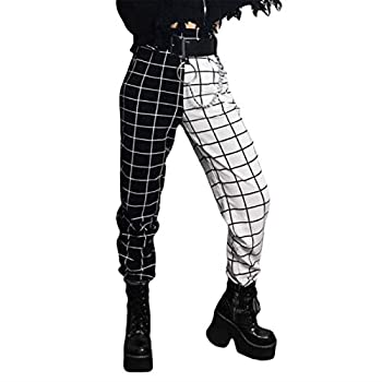 Women s Gothic Plaid Color Block Sweatpants Stretchy High Waist Tapered Stitching Pants Trousers with Pockets  Black&White L