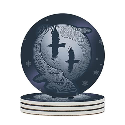 KittyliNO5 Posavasos redondos vikingos nórdicos de cerámica con diseño de cuervos de Odín, juego de 4 o 6 posavasos absorbentes con dorso de corcho redondo, 10 cm, color blanco, 6 unidades