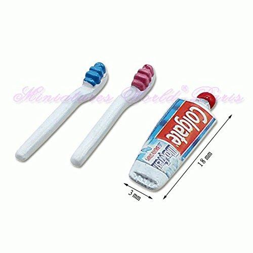 Miniatures World - 2 metalen tandenborstels en tube tandpasta voor miniatuurdecors en poppenhuizen in schaal 1:12