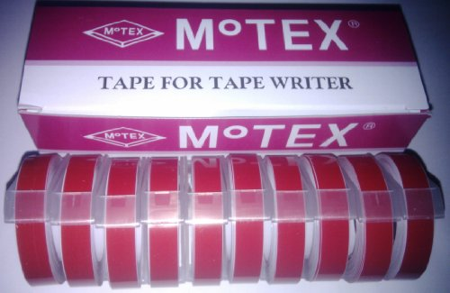 Motex BOX van 10 rode Embossing Label Maker Tapes 9mm x 3m