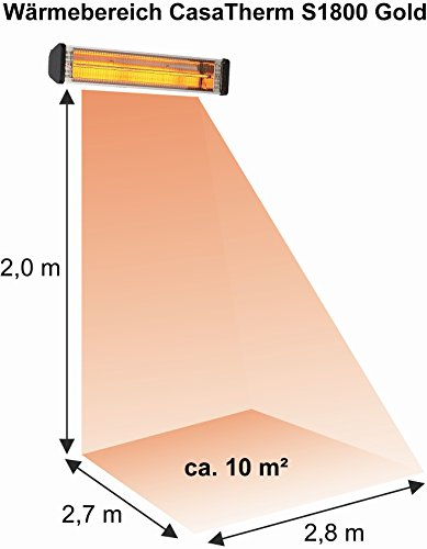 CasaTherm Infrarot Heizstrahler S1800 Gold Fernbedienung IP55, Silber, 1800 Watt - 4