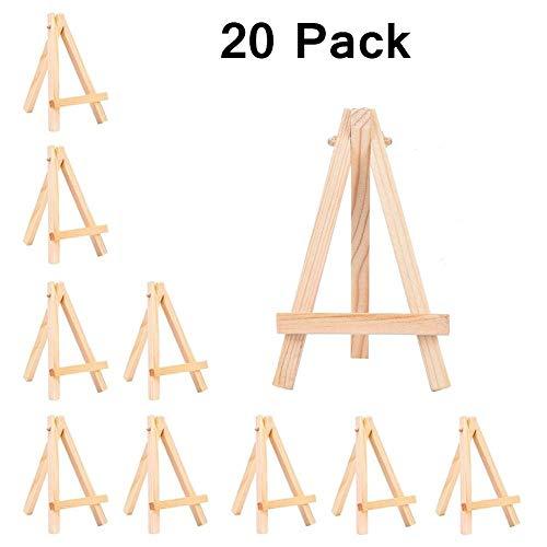 NYKKOLA Mini Holz Staffelei Foto Display Ständer Kartenhalter für Künstler Malerei Visitenkarten Weihnachten Deko Teller 20 Stück