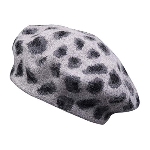 Minetom Boinas Mujer Francesa Vintage Fiesta Invierno Otoño Primavera Sombrero Elegante Francés Beret Beanie Estampado de Leopardo Cálido Gorra Gris Un Tamaño
