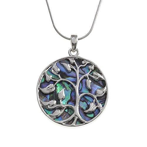 """Kiara joyería Celta árbol de la vida colgante collar incrustados ambos lados con verde azulado Paua abulón en 18""""cadena de serpiente., resistente a las manchas color plateado chapado en rodio."""