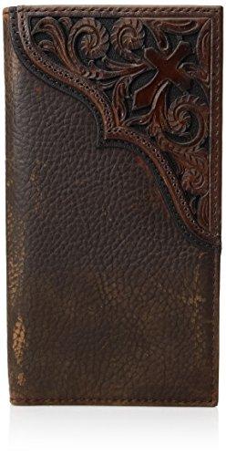 Ariat Men's Cross Corner Inlay Rodeo Western Wallet, Brown, One Size